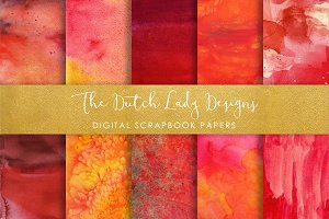 Red Watercolor Scrapbook Papers