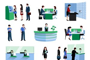 Bank customers and staff icons set