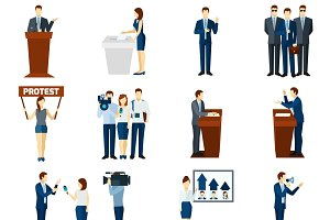 Politics flat icons set