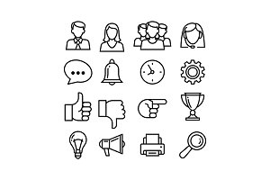 line icons set. For business, manage
