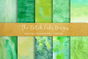 Green Watercolor Scrapbook Papers
