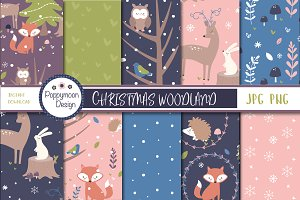 Christmas woodland paper