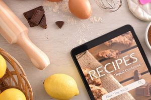 Pastry cookbook app in tablet