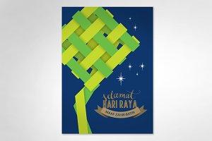 ketupat hari raya greeting template