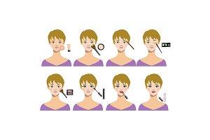 Cartoon Female Makeup Steps. Vector