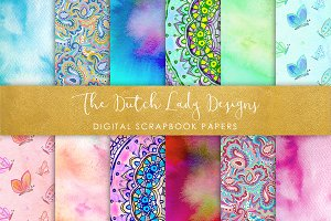 Holistic Watercolor Scrapbook Papers