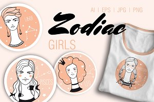 ZODIAC GIRLS hand drawn collection