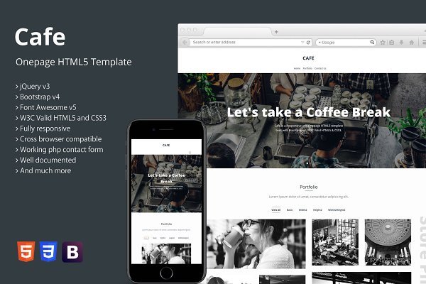 Cafe - Onepage HTML5 Template