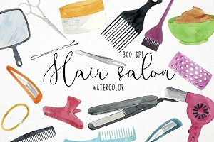 Watercolor Hair Salon Clipart