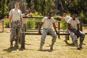Military soldiers relaxing