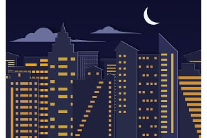 Paper cuted night city