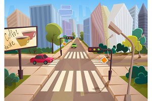 City crossroad illustration