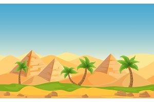 Pyramids in desert landscape