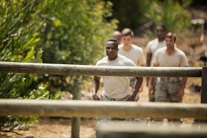 Soldiers training on fitness trail