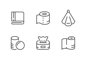 Set line icons of towel and napkin