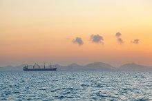 cargo ship in the morning