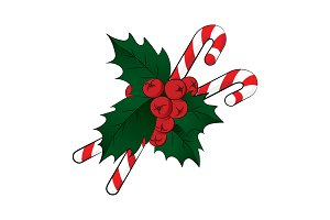 Candy cane and Holly berry vector