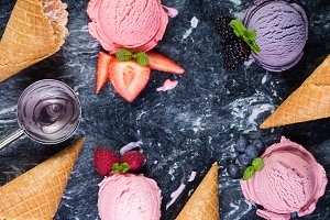 Selection of colorful berry ice
