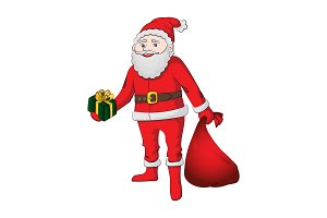 Santa Claus with gifts. Vector color