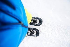 snowshoes in the snow - detail