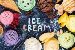 Selection of colorful ice cream