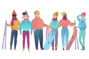 Skiers and snowboarders team