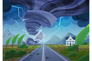 Twisting tornado nature disaster