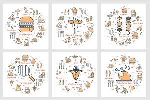 Six linear concept of  picnic foo