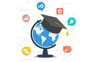 Worldwide education. Globe with