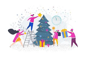 People decorate a Christmas tree