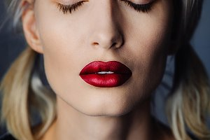 matte red lips portrait