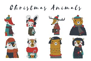 Kiddie Vector Christmas Animals Set