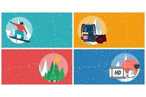 Four horizontal winter sport banners