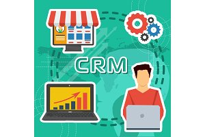 Greeen background CRM concept -