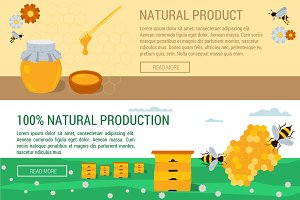 Horizontal banners honey natural