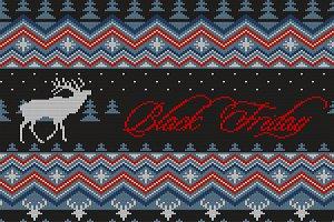 Black Friday. Knitted woolen pattern