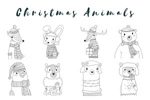 Vector Christmas Animals Outline Set