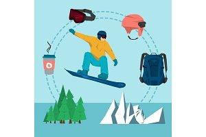 Vector flat set snowboarding sport