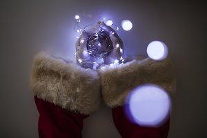 santa claus arms holding christmas b
