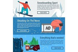 Three banners - snowboarding sport