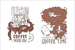 Creative cartoon coffee illustration