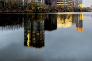 Reflection of modern buildings