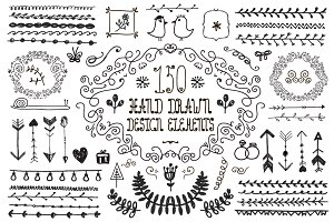 150 Hand Drawn Design Elements
