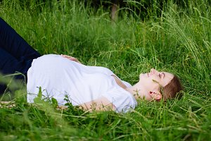 Beautiful pregnant woman relaxing on