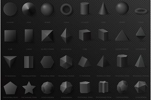 3d volumetric basic black shapes