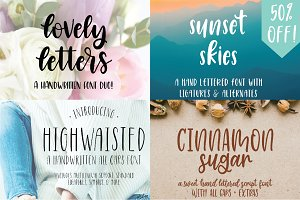 Hand Lettered Font Bundle