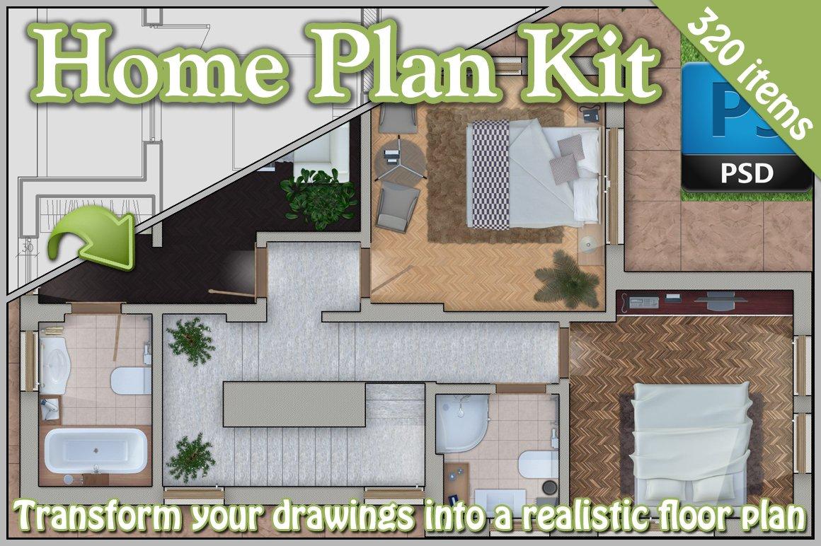 Home Kits Product : Home plan kit product mockups creative market