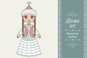 The girl in  Kazakh dress