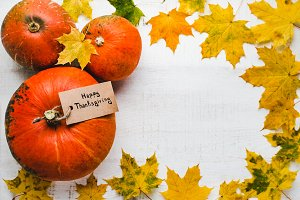 Bright, ripe pumpkins and red