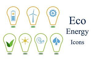 Set of eco energy icons (logos)